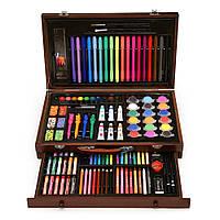 Детский набор для творчества и рисования 123 предмета Набор художника в деревянном чемоданчике Mega Art Set