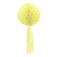 Бумажный шар соты с бахромой 30см желтый, фото 1