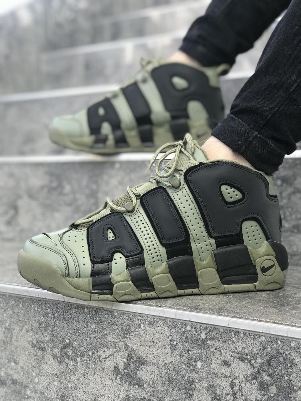 Мужские кроссовки в стиле Nike Air More Uptempo (khaki/black), Реплика ААА