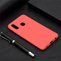 Чехол Soft Touch для Vivo Y1S (со сканером отпечатка) силикон бампер красный