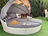 Шезлонг кровать Venus круглая, лаунж из ротанга 210 см.