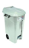 Бак для мусора120л EcoTayg 60*56,8*88,6см, с педалью, крышкой, на колесах, серый (Испания)