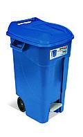 Бак для мусора120л EcoTayg 60*56,8*88,6см, с педалью, ручками, на колесах, синий (Испания)