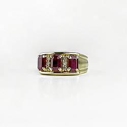 Золоте кільце з рубінами і діамантами 14К 585 проба