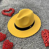 Шляпа Федора унисекс с устойчивыми полями в стиле Maison Michel желтая, фото 1