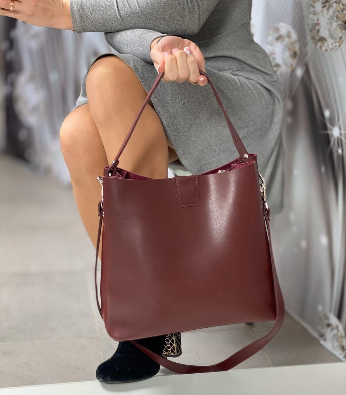 Бордовая женская сумка мешок на плечо вместительная шоппер брендовая экокожа