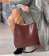 Бордовая женская сумка мешок на плечо вместительная шоппер брендовая экокожа, фото 1