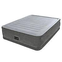 Надувная двуспальная кровать Intex 64414 (152-203-46 см.) + встроенный электронасос 220V | Надувне ліжко