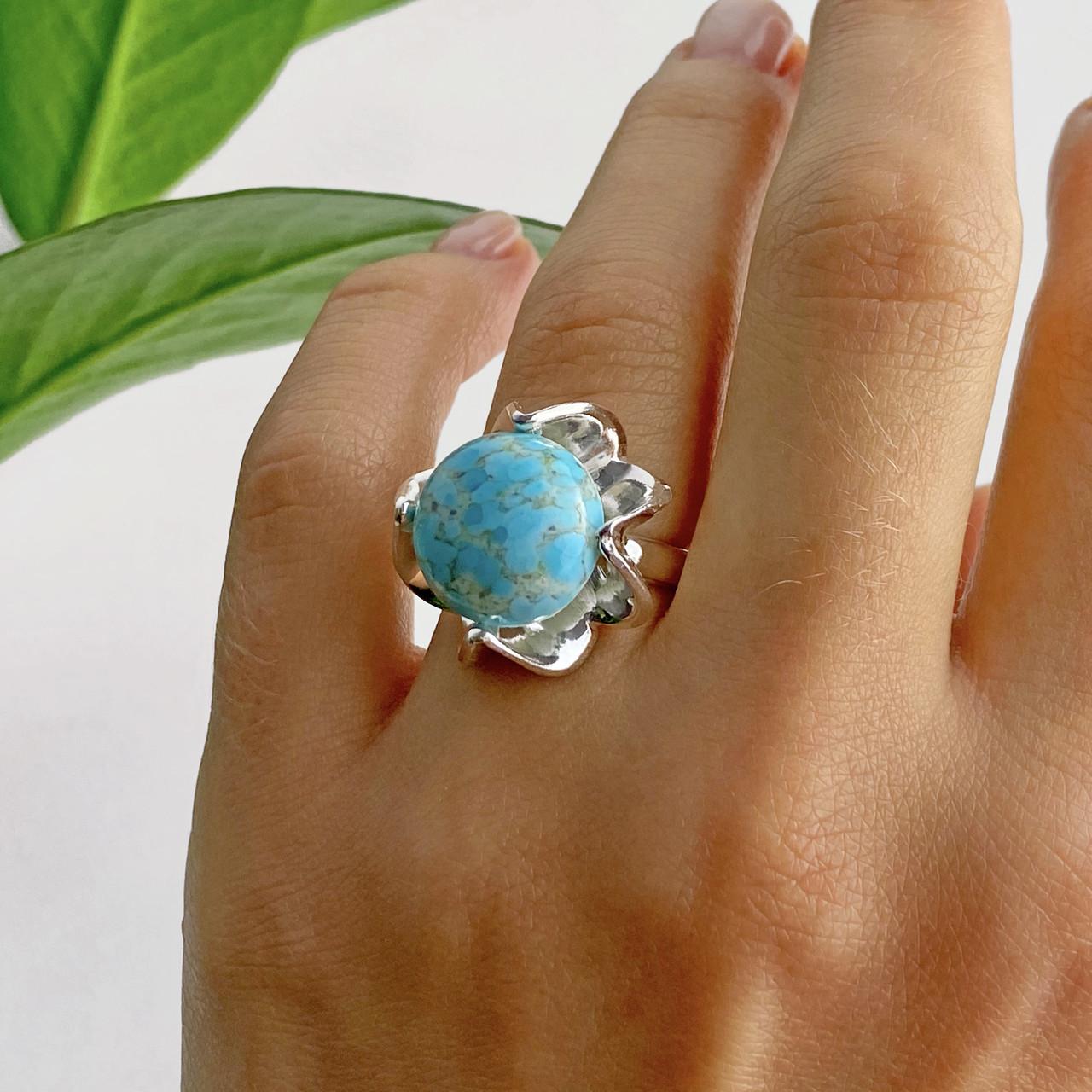 Серебряное кольцо с камнем ларимар   Небо