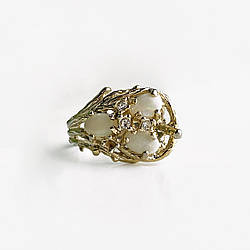 Серебряное кольцо с опалом и фианитами  Винтаж