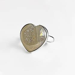 Серебряное кольцо с лунным камнем    Сердце