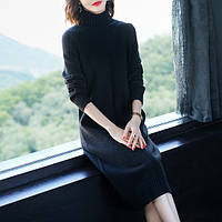 Сукня трикотажне жіноче з високим коміром чорне М\ХL