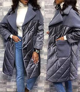 """Тепле пальто жіноче """"Плащівка Кокетка Хутро"""" в кольорах (42-2223)"""