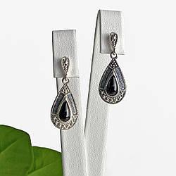 Срібні сережки з оніксом Вінтаж