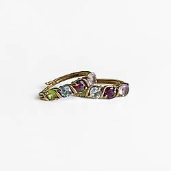 Сережки зі срібла з позолотою з натуральними каменями Принадність