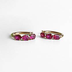 Золотые серьги с рубинами Романтика