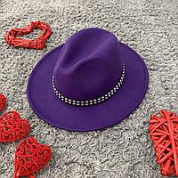 Шляпа Федора унисекс с устойчивыми полями с шипами фиолетовая, фото 1