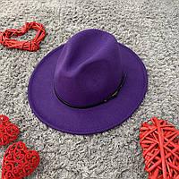 Капелюх Федора унісекс з стійкими полями Classic фіолетова, фото 1