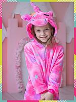 Детская Пижама Кигуруми Единорог Розовая Звездочка ( Магический), теплый Велсофт (на рост 90-105 см)