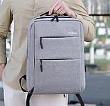 Водонепроницаемый деловой рюкзак  в стиле Xiaomi для ноутбука с зарядкой через USB  Чёрный + Подарок, фото 3