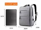 Водонепроницаемый деловой рюкзак  в стиле Xiaomi для ноутбука с зарядкой через USB  Чёрный + Подарок, фото 4