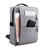 Водонепроницаемый деловой рюкзак  в стиле Xiaomi для ноутбука с зарядкой через USB  Чёрный + Подарок, фото 5