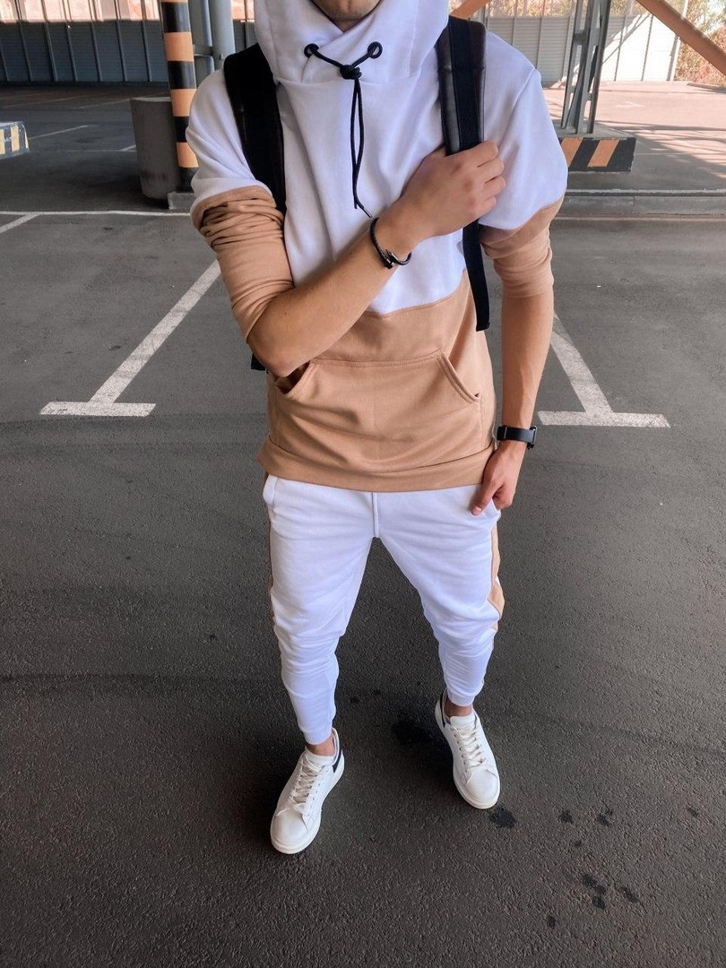 Мужской спортивный костюм белый (пудра)