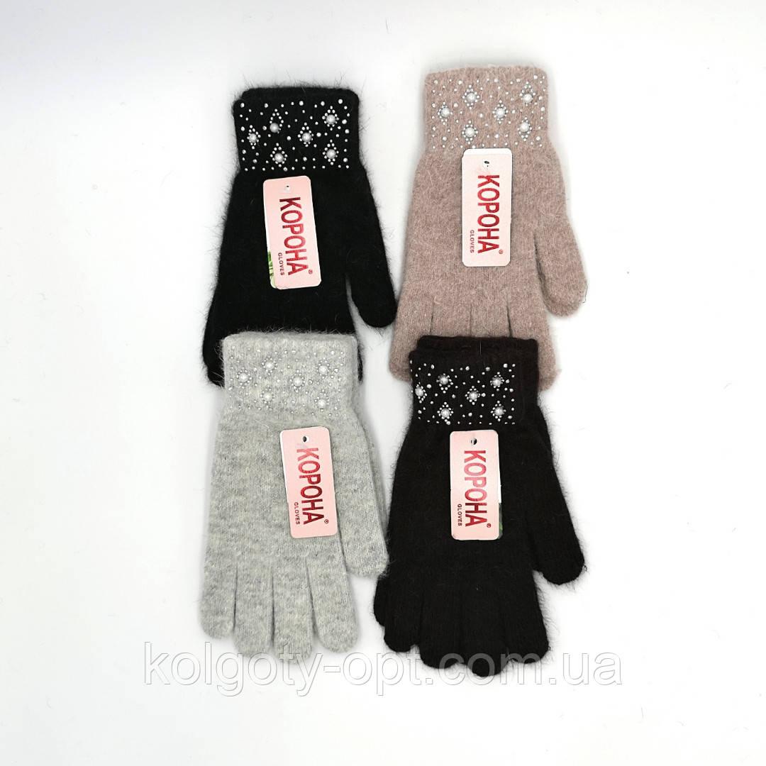 Перчатки ангоровые женские теплые зимние с жемчугом (продаются только от 12 пар)