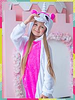 Детская Пижама Кигуруми Пегас, Розовый Единорог с крыльями (на рост 90-105 см)