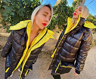 """Тепла чоловіча і жіноча куртка-пальто синтепон """"Капюшон Кишені Контраст"""" (14-059)"""