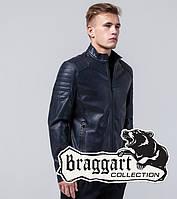 Осенняя мужская куртка кожанка Braggart Youth экокожа, темно-синий