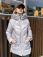 Куртка пальто пуховик зимова коротка жіноча молодіжна тепла легка модна з капішоном сіра