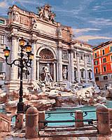 Картины красками по номерам на холсте рисование картин по номерам Фонтан Ди Треви Рим 40х50 см