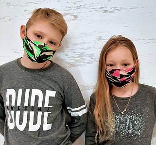 """Дитяча захисна двошарова маска """"Пітта Двухнить Мілітарі"""" в кольорах (mm-02)"""