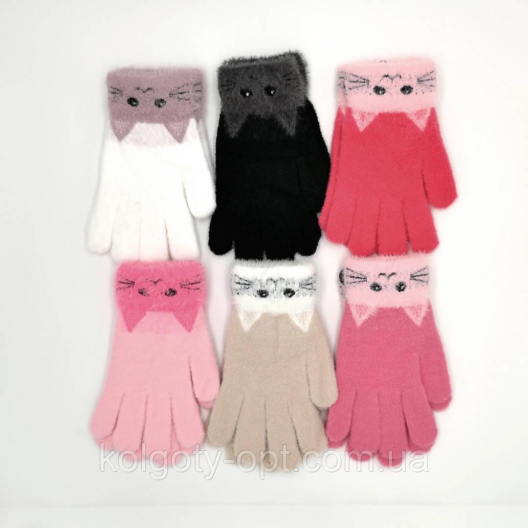 Зимние детские ангоровые перчатки для девочек подростков