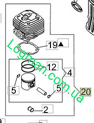 Цилиндр с поршнем для Oleo-Mac BV 900/BV 901, MB 90/MB900 на воздуходувку Олео-Мак CFI0G31000