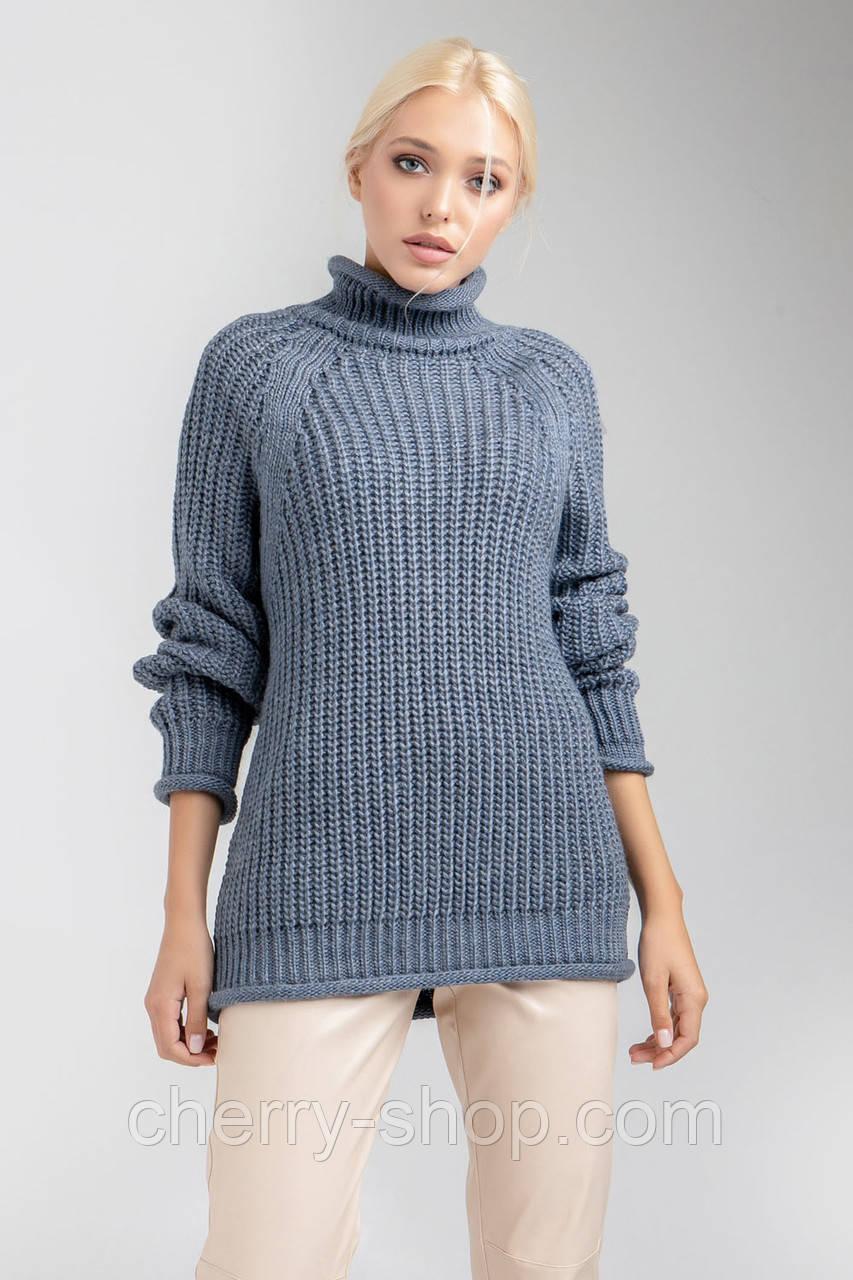 Модный, очень теплый свитер в цвете деним , размер 44-48