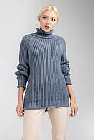 Модный, очень теплый свитер в цвете деним , размер 44-48, фото 1