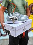 Air Jordan 1 Mid Женские осенние серые кожаные кроссовки. Женские кроссовки на шнурках, фото 2