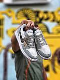 Air Jordan 1 Mid Женские осенние серые кожаные кроссовки. Женские кроссовки на шнурках, фото 5