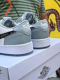 Air Jordan 1 Mid Женские осенние серые кожаные кроссовки. Женские кроссовки на шнурках, фото 6