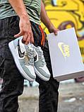 Air Jordan 1 Mid Женские осенние серые кожаные кроссовки. Женские кроссовки на шнурках, фото 9