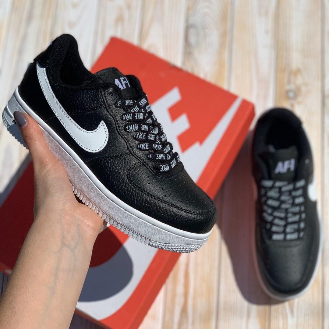 Nike Air AF-1  Женские осенние черные кожаные кроссовки. Женские кроссовки на шнурках