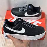 Nike Air AF-1  Женские осенние черные кожаные кроссовки. Женские кроссовки на шнурках, фото 2
