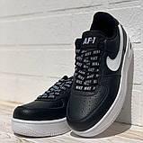 Nike Air AF-1  Женские осенние черные кожаные кроссовки. Женские кроссовки на шнурках, фото 4