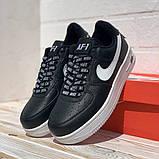 Nike Air AF-1  Женские осенние черные кожаные кроссовки. Женские кроссовки на шнурках, фото 5