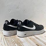 Nike Air AF-1  Женские осенние черные кожаные кроссовки. Женские кроссовки на шнурках, фото 6