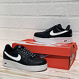 Nike Air AF-1  Женские осенние черные кожаные кроссовки. Женские кроссовки на шнурках, фото 7