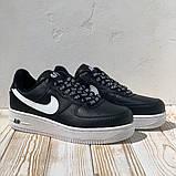 Nike Air AF-1  Женские осенние черные кожаные кроссовки. Женские кроссовки на шнурках, фото 8