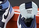 Jordan 1 Retro Женские осенние голубые кожаные кроссовки. Женские кроссовки на шнурках, фото 5